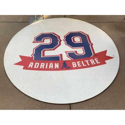 "Photo of Adrian Beltre ""29"" Game-Used On-Deck Circle - Used In The Game When The Rangers Retired Beltre's Number 29"