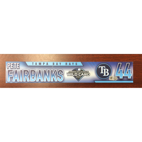 Photo of Game Used A.L. Wild Card Locker Tag: Pete Fairbanks - First Career Post Season Game