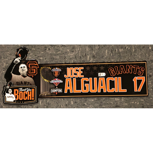 "Photo of 2019 Game Used ""Thank You BOCH!"" Locker Tag - #17 Jose Alguacil"