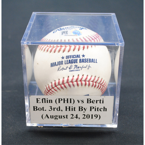 Photo of Game-Used Baseball: Zach Eflin (PHI) vs Jon Berti, Bot. 3rd, Hit By Pitch - August 24, 2019