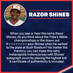 Photo of Razor Shines Autographed 80s/90s Indianapolis Indians Retro Jersey