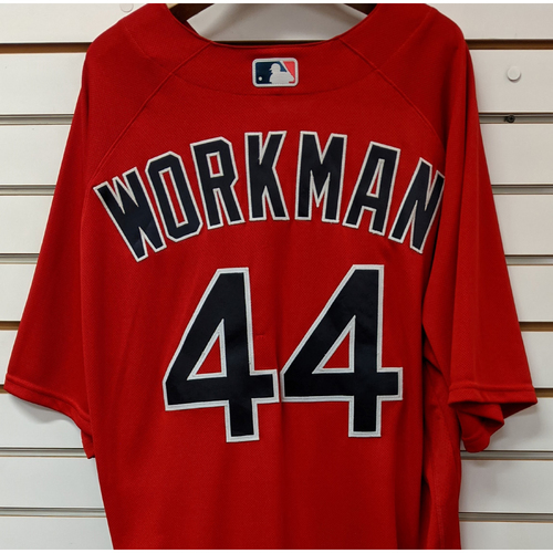 Photo of Brandon Workman #44 Team Issued Nike Red Spring Training Jersey
