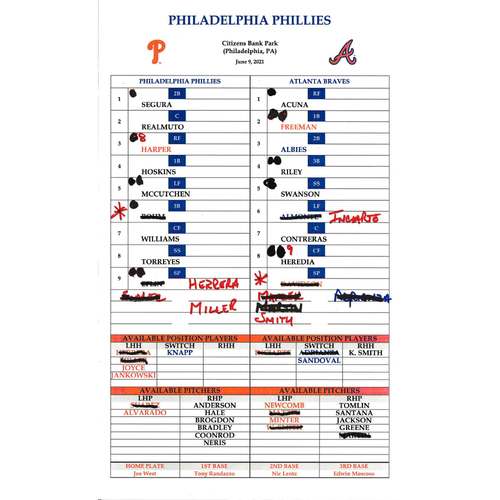 Photo of 2021 Phillies Game-Used Lineup Card - Luke Williams Walk-Off Home Run
