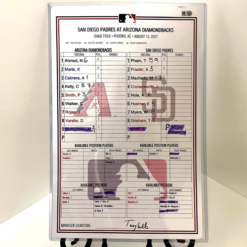 Photo of Game-Used Lineup Card - Blake Snell vs. Madison Bumgarner - Padres @ D-backs 8/13/2021