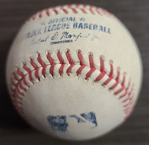 Photo of Authenticated Game Used Baseball: Strikeout by Carlos Rodon against Randal Grichuk (Aug 26, 2021 vs CWS). Bottom 2.