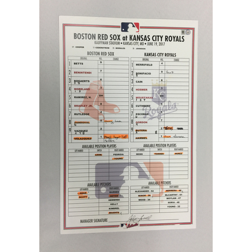 Photo of Red Sox at Royals June 19, 2017 Game-Used Lineup Card -Royals Win 4 to 2
