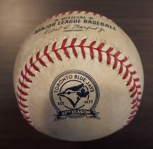 Photo of Authenticated Game Used Baseball - August 27, 2016: 2 RBI Double by Brian Dozier against Marcus Stroman (Top 4)