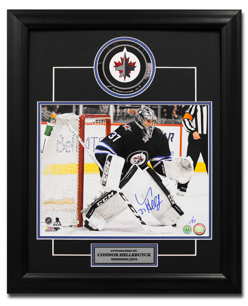 Connor Hellebuyck Winnipeg Jets Autographed Hockey Goalie 23x19 Decal Frame /37