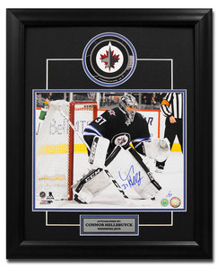 d936321159bf7 Connor Hellebuyck Winnipeg Jets Autographed Hockey Goalie 23x19 Decal Frame   37Connor Hellebuyck Winnipeg Jets Autographed Hockey Goalie 23x19 Dec.
