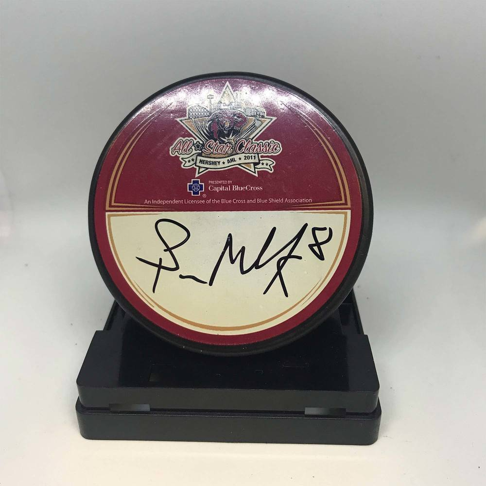 2011 AHL All-Star Classic Souvenir Puck Signed by #8 Spencer Machacek