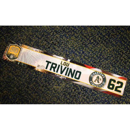 Photo of Oakland Athletics Lou Trivino Team-Issued 4th of July 2018 Locker Nameplate
