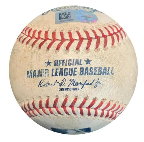 Photo of Game-Used Baseball from Pirates vs. Brewers on 6/19/18 - Jeremy Jeffress Strikeout