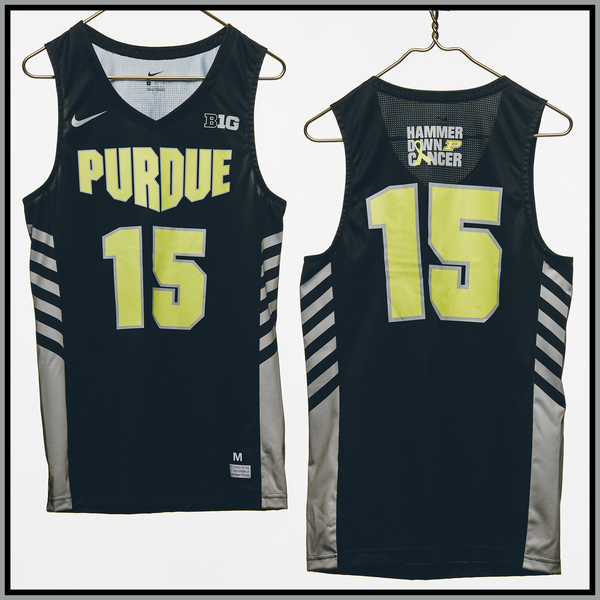 Photo of Purdue Basketball #15 Hammer Down Cancer Jersey, Worn By Tommy Luce
