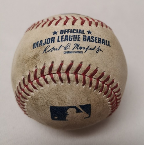 Photo of Authenticated Game Used Baseball - Curtis Granderson Single against Reynaldo Lopez (April 2, 2018 vs CWS). Bottom 5.