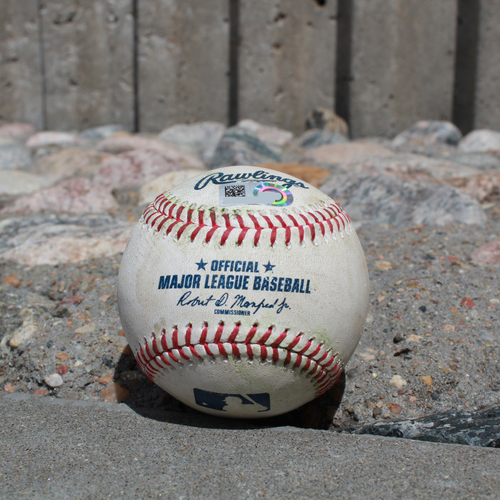 Photo of Game-Used Baseball: Jay Bruce 292nd Career Double & Edwin Encarnacion 1,718th Career Hit and 1,166th Career RBI (SEA @ KC - 4/10/19)