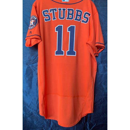 Photo of 2019 Garrett Stubbs Game-Used Orange Los Astros Jersey - Size 42