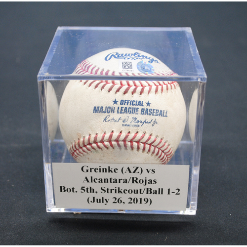Photo of Game-Used Baseball:  Zack Greinke (ARZ) vs Sandy Alcantara/Miguel Rojas, Bot. 5th, Strikeout/Ball - July 26, 2019