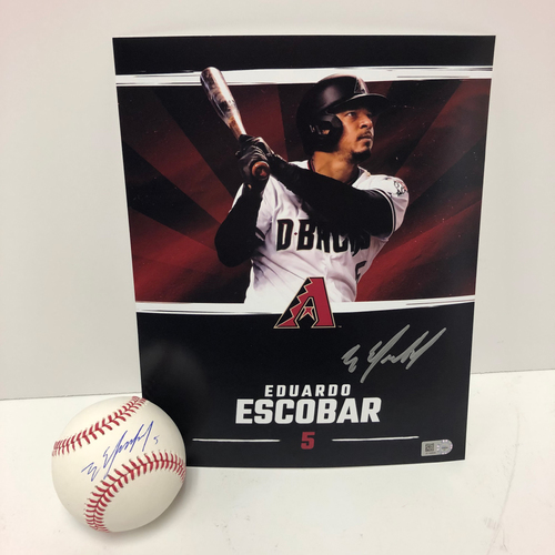 Photo of Eduardo Escobar Autographed Baseball and 8x10 Photo