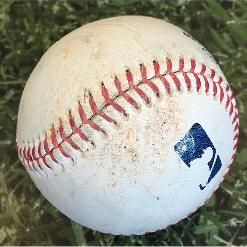 Photo of Game-Used Baseball PIT@MIL 08/30/20 - Brandon Woodruff - Erik Gonzalez: First Pitch of Game