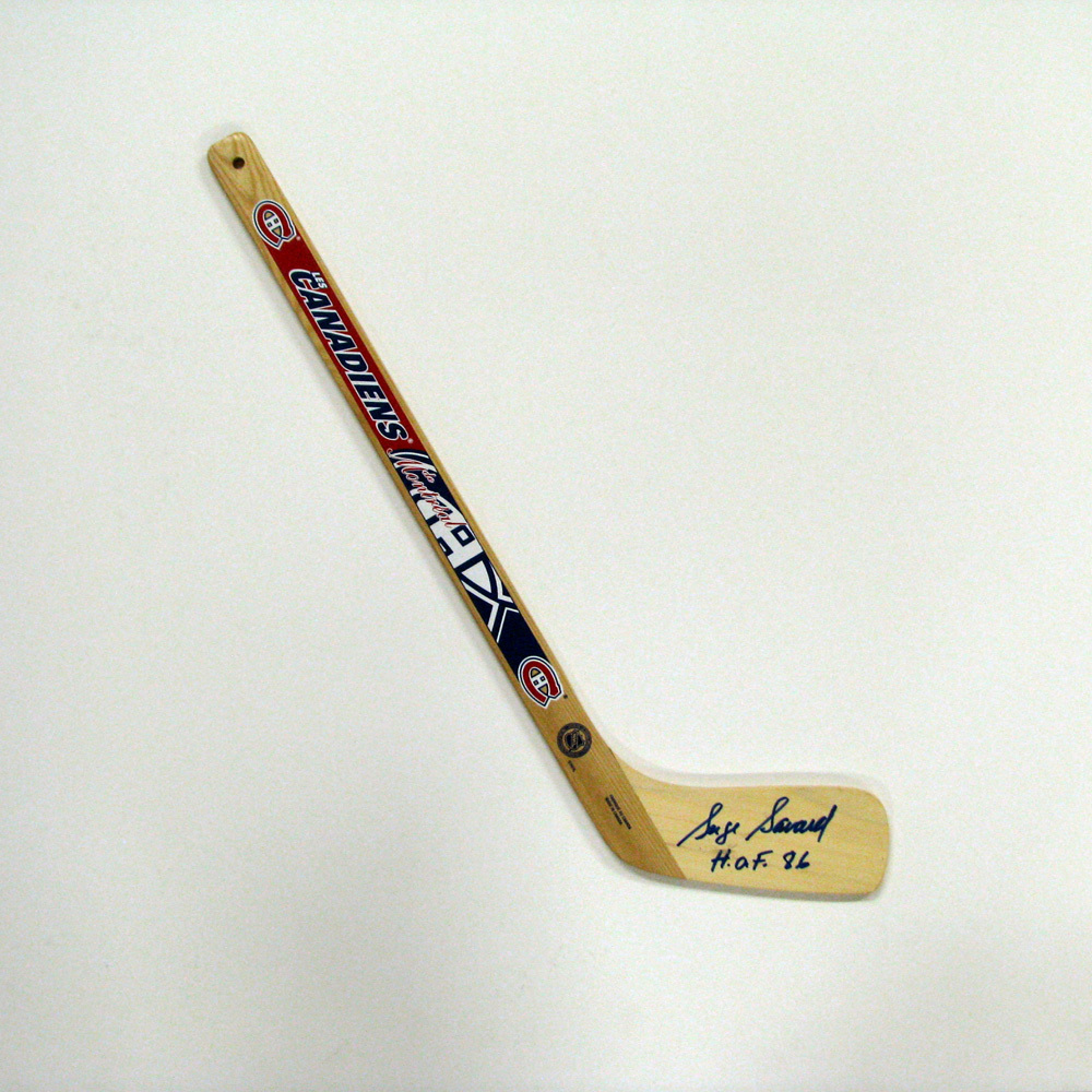 SERGE SAVARD Signed Mini Stick with HOF Inscription - Montreal Canadiens