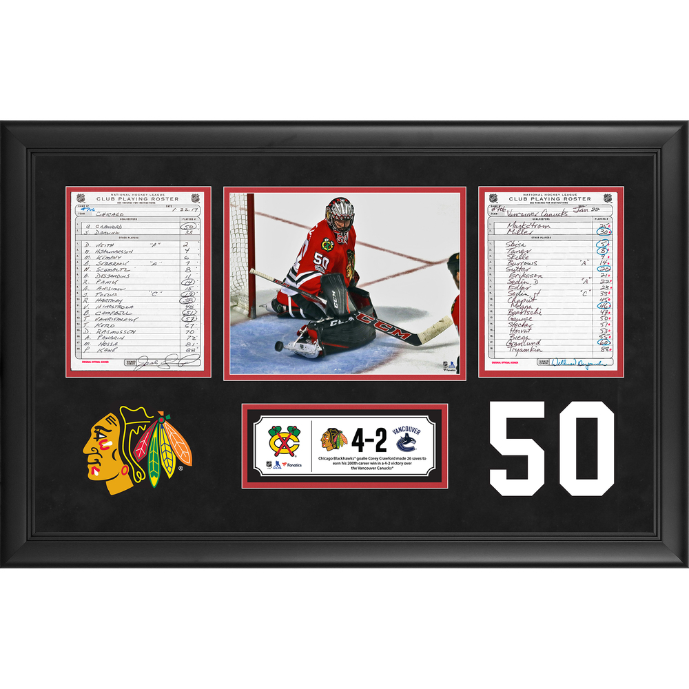 Chicago Blackhawks Framed Original Line-Up Cards From January 22, 2017 vs. Vancouver Canucks - Corey Crawford's 200th Career Victory