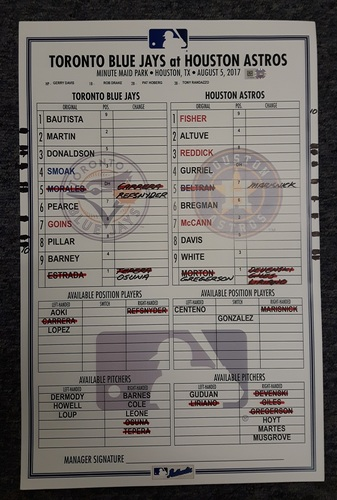 Photo of Authenticated Game Used Line Up Card - August 5, 2017 vs Houston Astros. Blue Jays win in 10 Innings with the help of a smart Refsnyder slide