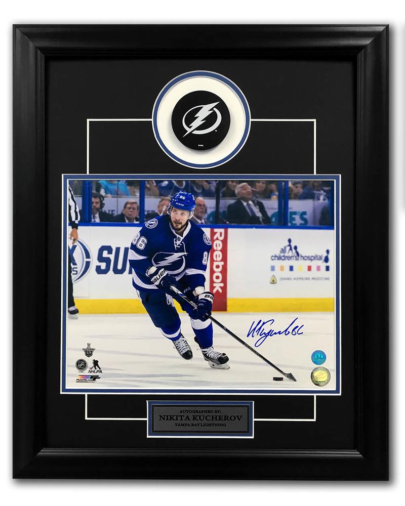 Nikita Kucherov Tampa Bay Lightning Autographed Action 23x19 Puck Frame