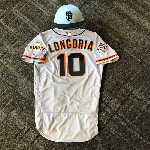 Photo of San Francisco Giants - Team Issued Father's Day Blue Ribbon Jersey + Cap - #10 Evan Longoria (size 42 - cap 7)