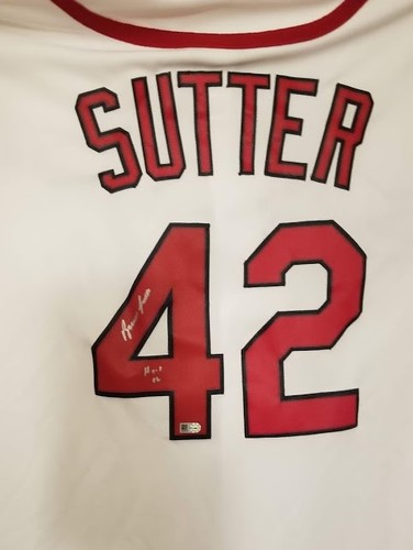 "Photo of Bruce Sutter ""HOF 06"" Autographed Cardinals Jersey"