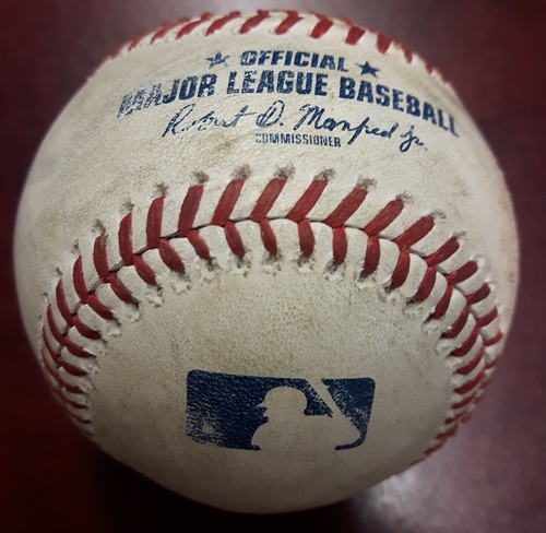 Photo of Authenticated Game Used Baseball - Aaron Loup strikes out Eddie Rosario and RBI Single by Eduardo Escobar. Top 4. July 23, 2018.