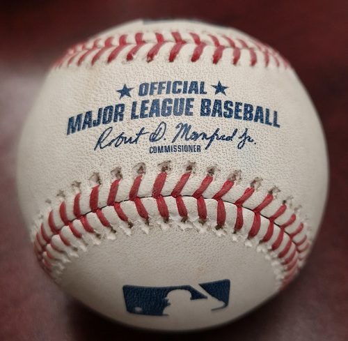Photo of Authenticated Game Ready Baseball - Betts Hit for the Cycle in the Game. (Aug 9, 2018). 1st MLB Cycle of 2018 Season.