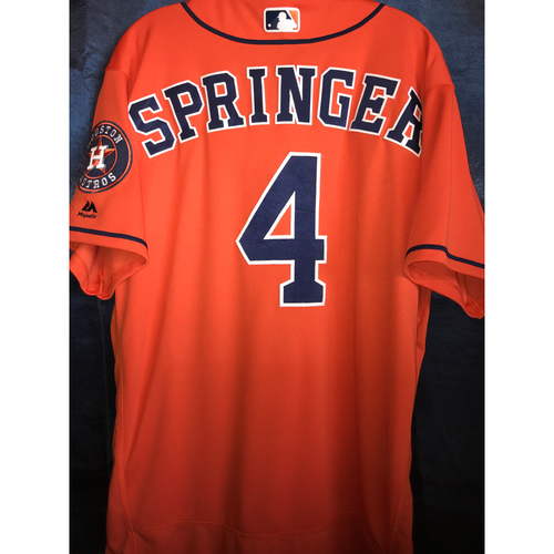 Photo of 2018 George Springer Game-Used Orange Alternate Jersey