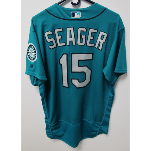 Photo of Kyle Seager Game-Used Green Jersey - July 6, 2018