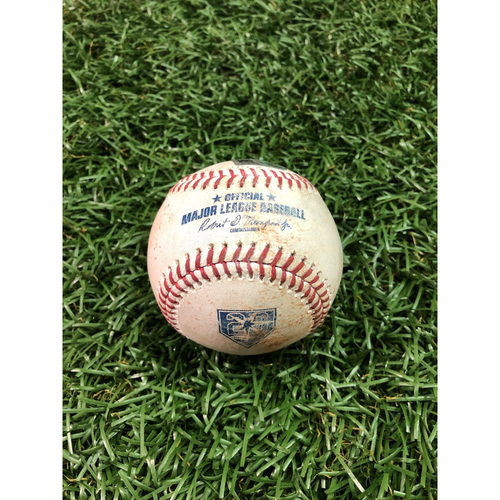 Photo of 20th Anniversary Game Used Baseball: Andrew Benintendi strike out and Steve Pearce single off Jalen Beeks - August 24, 2018 v BOS