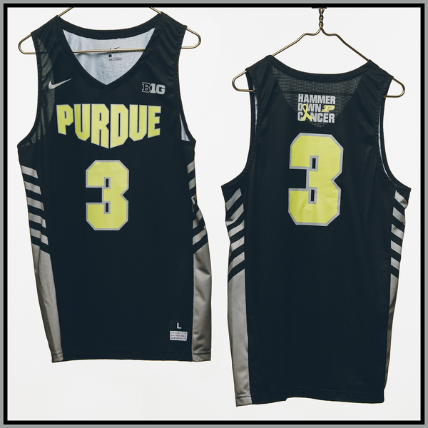 Photo of Purdue Basketball #3 Hammer Down Cancer Jersey, Worn By Carsen Edwards