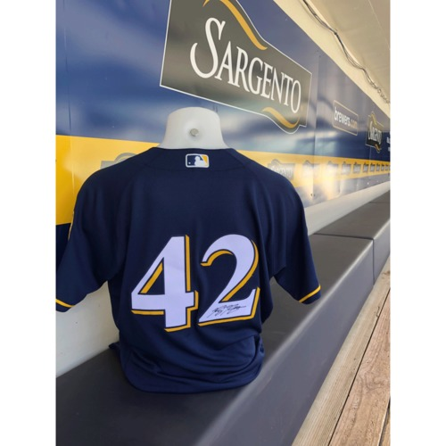 Photo of Ryan Braun Game-Used, Autographed Jackie Robinson Day Jersey