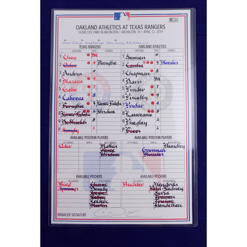 Photo of Game-Used Line-Up Card - 4/12/19 - OAK @ TEX