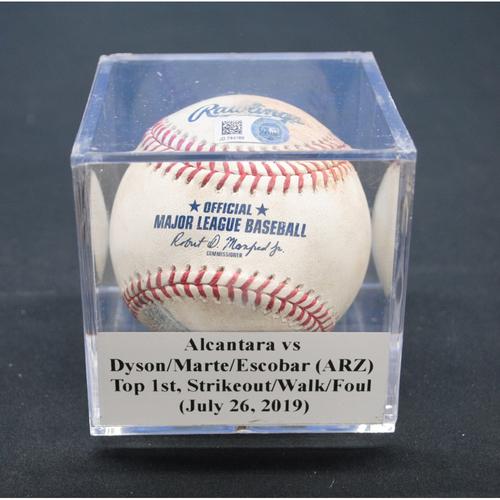 Photo of Game-Used Baseball: Sandy Alcantara vs Jarrod Dyson/Ketel Marte/Eduardo Escobar (ARZ), Top 1st, Strikeout/Walk/Foul - July 26, 2019
