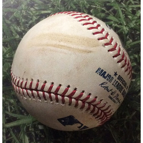 Photo of Game-Used Baseball PIT@MIL 06/08/19 - Jordan Lyles - Orlando Arcia: RBI Double