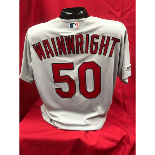 Photo of Adam Wainwright Autographed Team Issued Road Jersey (Size 46)