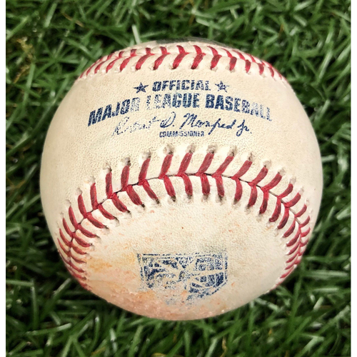Photo of Game Used 20th Anniversary Baseball: Jake Newberry MLB Debut Pitched Ball - August 20, 2018 v KC