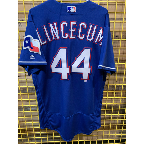 Photo of Tim Lincecum Team-Issued Blue Jersey From 2018 Season