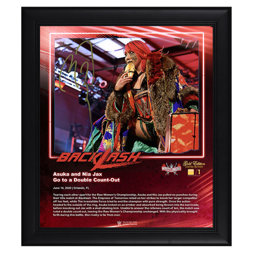 Photo of Asuka SIGNED BackLash 2020 WrestleMania Gold Edition Plaque (#1 of 1)