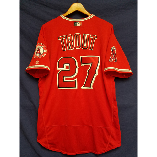 Photo of Mike Trout Alternate Red Game-Used Jersey