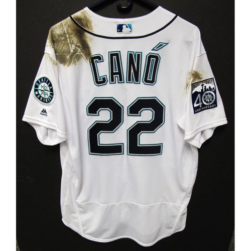 Photo of Robinson Cano Game-Used Home White Jersey - 6-22-2017 - Size - 48