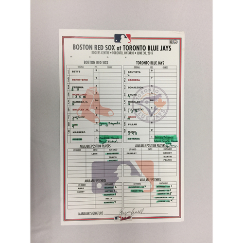 Photo of Red Sox at Blue Jays June 30, 2017 Game-Used Lineup Card - Red Sox  win 7 to 4 in 11 innings