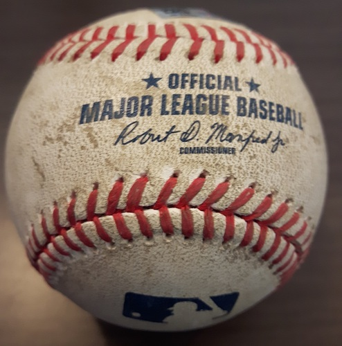 Photo of Authenticated Game Used Baseball - May 10, 2017: Edwin Encarnacion Hit by Pitch against Ryan Tepera (Top 7)
