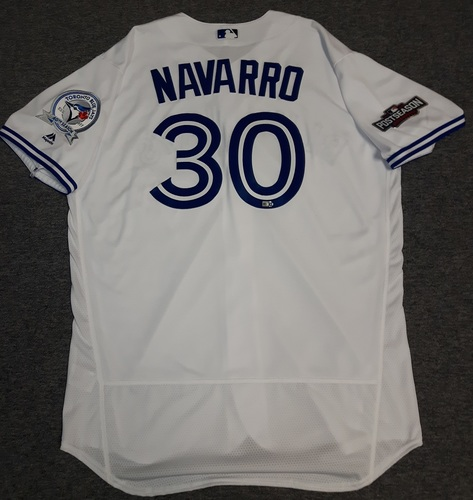 Photo of Authenticated Team Issued Jersey - #30 Dioner Navarro (2016 Postseason). Size 50