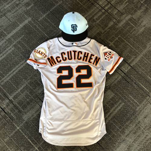 Photo of San Francisco Giants - Game Used Father's Day Blue Ribbon Jersey + Cap - #22 Andrew McCutchen (size 42 - cap 7 3/8)