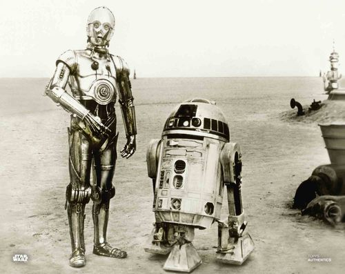 Anthony Daniels and Kenny Baker as C-3PO and R2-D2